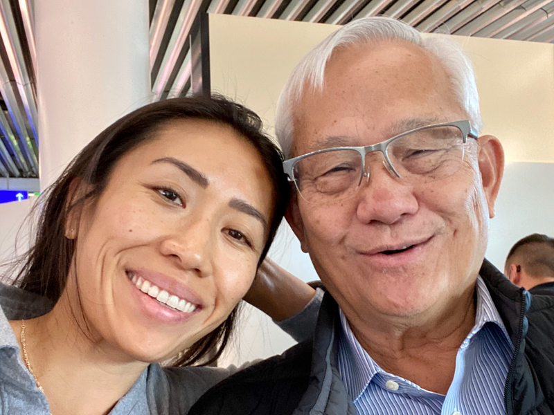Christine Chang with her dad.